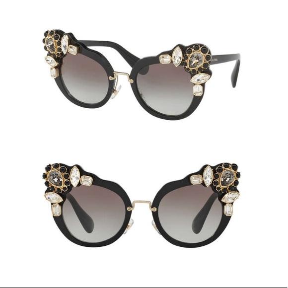 5cb724b20f54 MIU MIU Jewel Stone Sunglasses MU 04SS